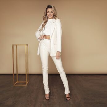 Milana Croco Leather Blazer Creme