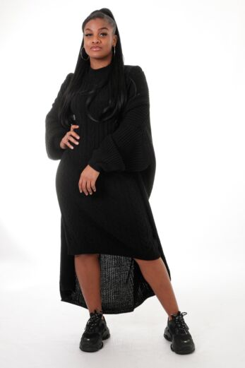 Eve Evie Knitted Two Piece Dress Black Front