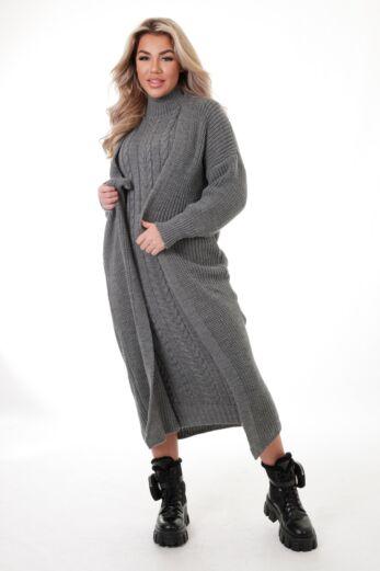 Evie Knitted Two Piece Dress Dark Grey
