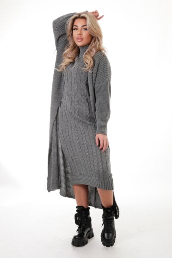 Eve Evie Knitted Two Piece Dress Dark Grey Front