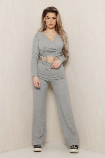 Eve Change of Heart Ruched Two Piece Grey Front