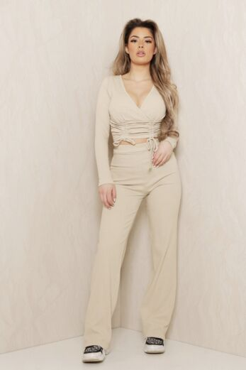 Change of Heart Ruched Two Piece Nude