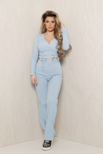 Eve Change of Heart Ruched Two Piece Blue Front