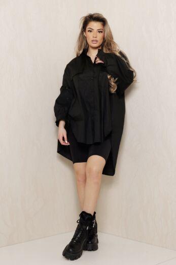 Say When Oversized Blouse Dress Black
