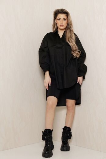 Eve Say When Oversized Blouse Dress Black Front