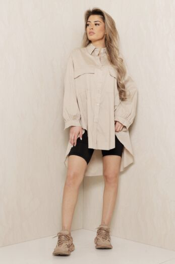 Say When Oversized Blouse Dress Nude