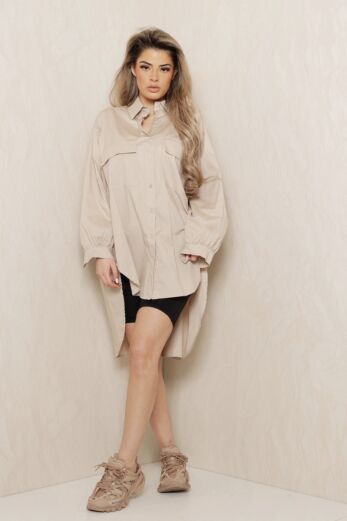 Eve Say When Oversized Blouse Dress Nude Front