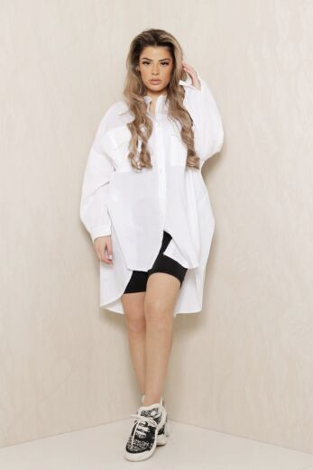 Say When Oversized Blouse Dress White