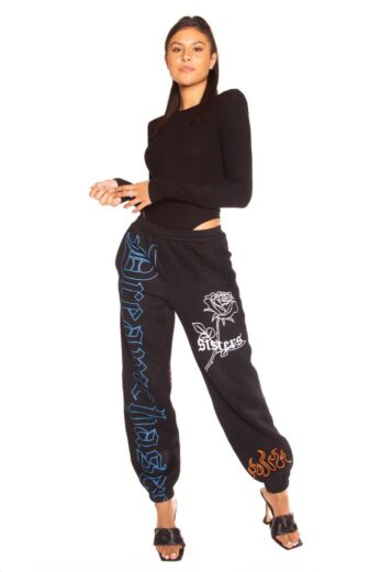 LA Sisters Rose Sweatpants Black Front