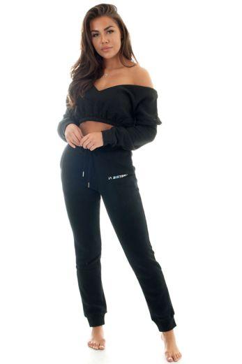 Yasmine Cropped Sweatshirt Black