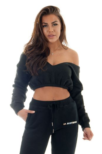 Eve Yasmine Cropped Sweatshirt Black Close Up Front