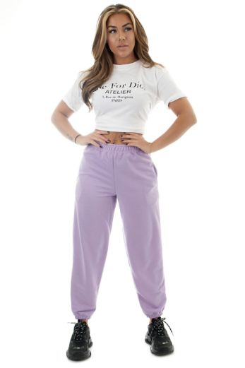 Eve Lazy Joggers Purple Front
