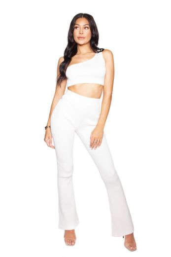 LA Sisters Knitted Off-Shoulder Two Piece White