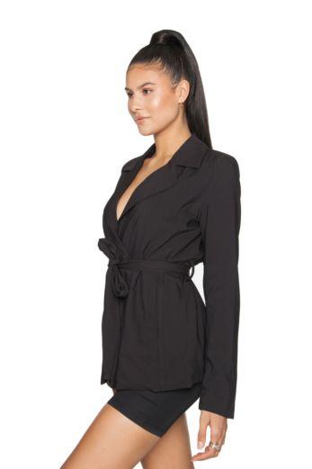 Belted Blazer Jacket Black