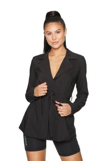 La Sisters Belted Blazer Black Front