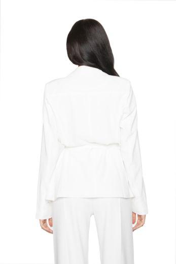 Belted Blazer Jacket White