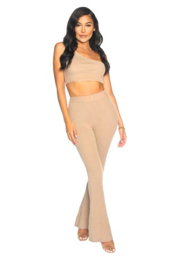 LA Sisters Knitted Off-Shoulder Two Piece Light Brown