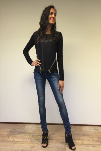 Faux Leather pullover