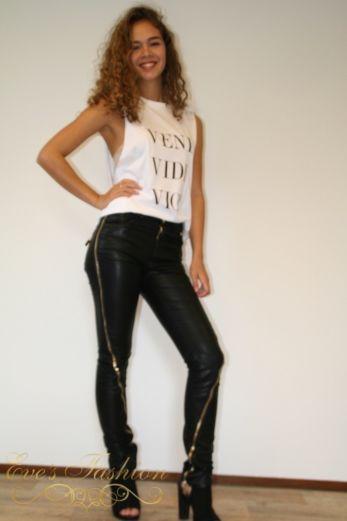 Faux Leather Zip Pants Black/Gold