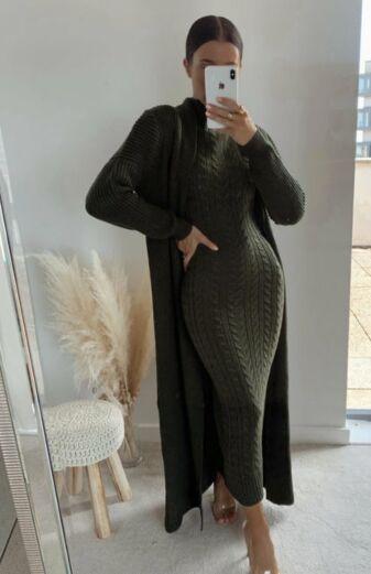 Evie Knitted Two Piece Dress Khaki