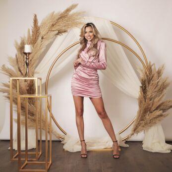 Holly High Neck Dress Satin Blush