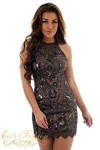 Eve Exclusive Jasmine Sequin Dress Black Close