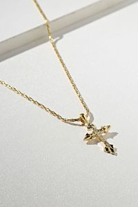 Vanessa Mooney The Gold Anastasia Cross Necklace Side