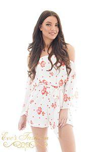 Jacky Luxury Amra Flower Playsuit white Close