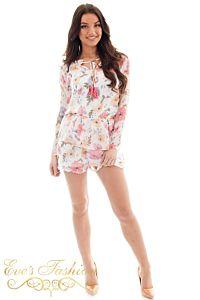 Jacky Luxury  Katelyn Flower Jumpsuit White Front