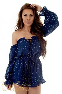 RUNAWAY Oui Oui Playsuit Navy Front Close