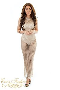 Eve Amazone Metallic Dress Gold Front