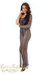 Eve Shiba Metallic Dress Dark Bronze Side Right