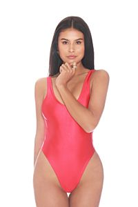 LA Sisters Satin Low Cut Swimsuit Red