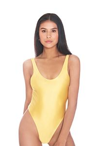 LA Sisters Satin Low Cut Swimsuit Yellow