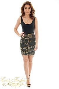 Eve Amy Camouflage Skirt Front