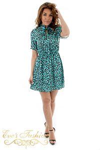 Eve Safira Tiger Dress Blue Front