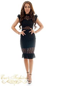 Eve Milany Lace Dress Black Front Pose