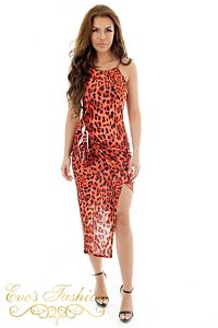 Eve Princess Leopard Knot Dress Red Front