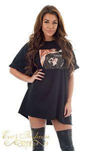 Eve Panther Dior Tee Black Close front