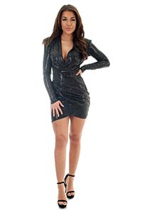 Faye Sequin Short Dress Black