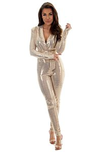 Faye Sequin Jumpsuit Gold