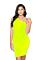 LA Sisters Neon Off Shoulder Mini Dress Yellow Front