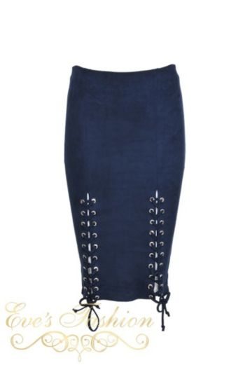 Suede Lace Skirt Navy Blue