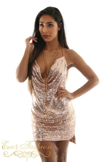 Eve Exclusive Kayli Sequin Dress Rose Gold Close