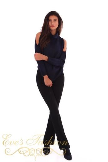 Open Shoulder Ribbed Sweater Navy Blue Front