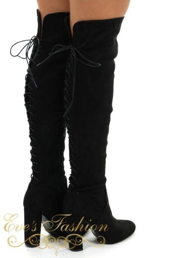 Eve - Lace Up Over the knee boots Black