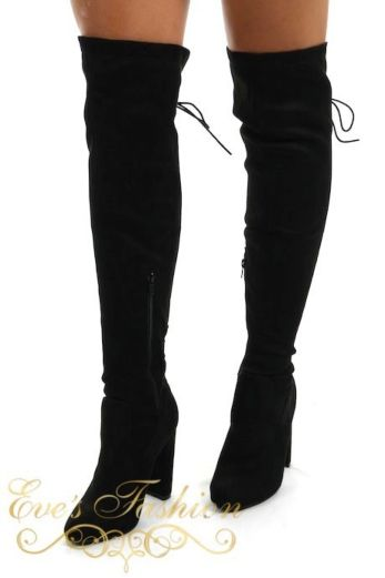 Lace Up Over the knee boots Black