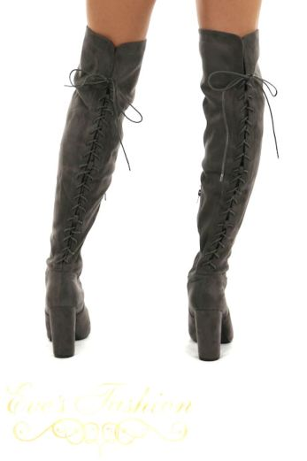 Eve - Lace Up Over the knee boots Grey