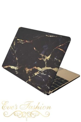 Marble Case Black/Gold Macbook Front