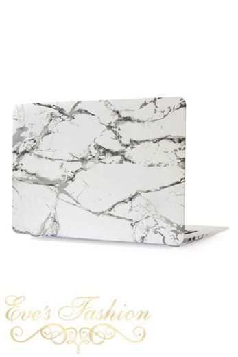 Marble Case White/Silver Macbook Front